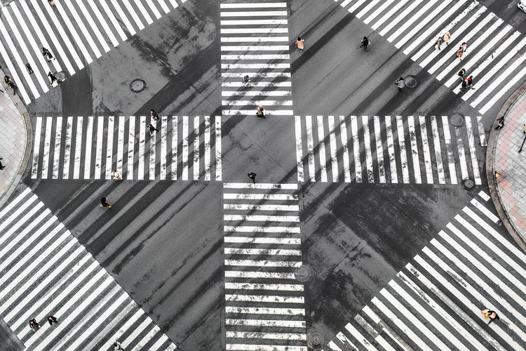 High angle view of road crossing sign