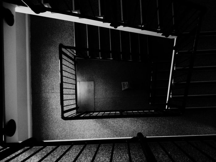 Steps Steps And Staircases Staircase Geometric Shape Bannister Diminishing Perspective No People Darkness And Light Black And White Architecture Closed Built Structure Urban Geometry Blackwhite Blackandwhite Architecture Urban Exploration Derelict & Abandoned Abandoned Tranquility
