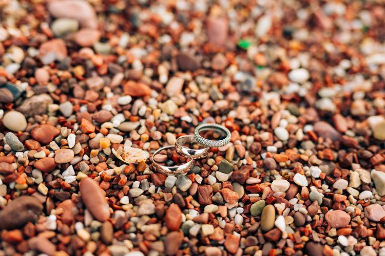 High angle view of pebbles on land