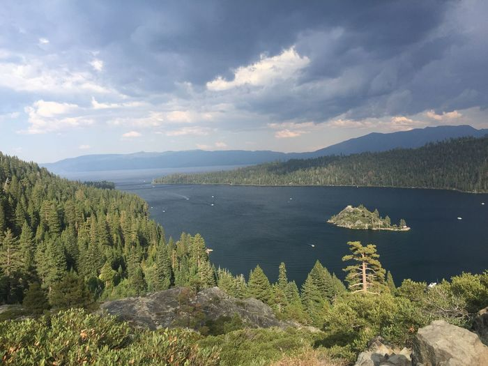 Lost In The Landscape Mountain Scenics Beauty In Nature Sky Tranquil Scene Nature Tree Lake Water Mountain Range Tranquility No People Day Outdoors Growth Green Color Cloud - Sky Landscape Plant Lake Tahoe Nature Landscape_Collection Nature_collection Nature Photography Gorgeous Emerald Bay, Lake Tahoe