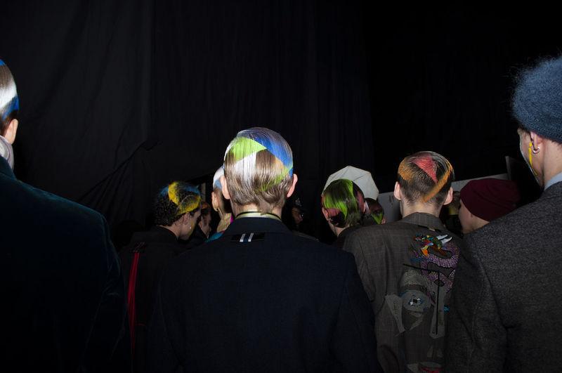Men with coloured hair, fashion week