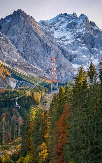 On the way to the mountain peak zugspitze with the cable car.