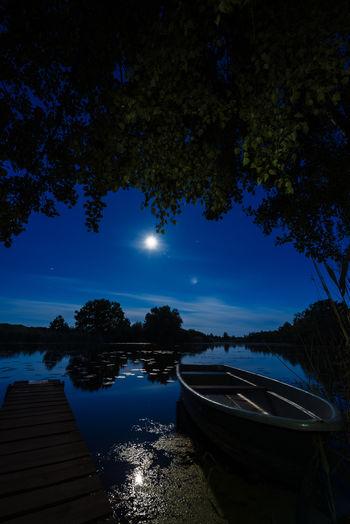 Boat Lake Long Exposure Moon Reflection Sky Tree Water