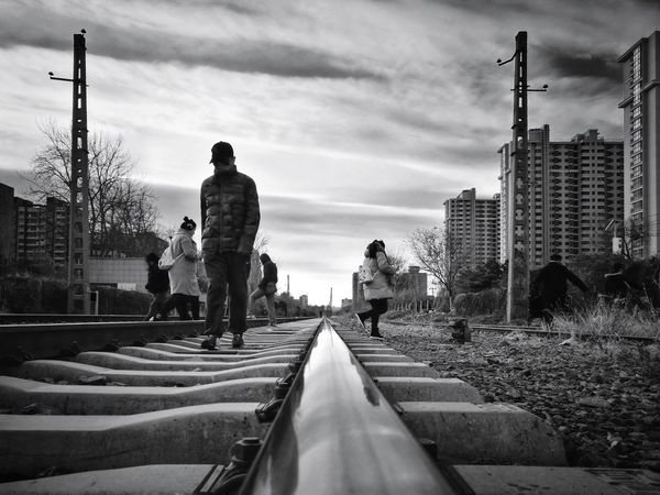 Architecture Sky People Outdoors City Day Cloud - Sky Street Photography City Life Shadows & Lights Cityscape Beijing, China Light And Shadow Huawei P9 Photos Shadow Silhouette Black And White Low Angle View Railway Track Mirrored Reflection City The Way Forward Tranquil Scene Architecture Railroad Track