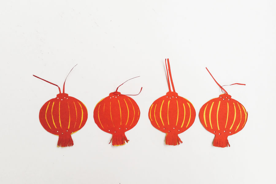 Arrangement Art Celebration Culture Decoration Lantern Parper-cut Red White Background