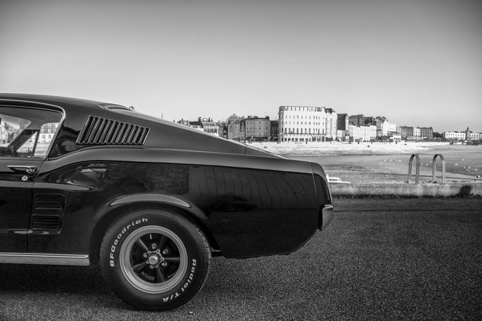 American Cars Architecture Black & White Black And White Blackandwhite Blackandwhite Photography Canon Canon_photos Canonphotography City Coast Coastline Ford Ford Mustang GT Land Vehicle Landscape Mode Of Transport Modern Musclecar Must No People Outdoors Sea Stationary