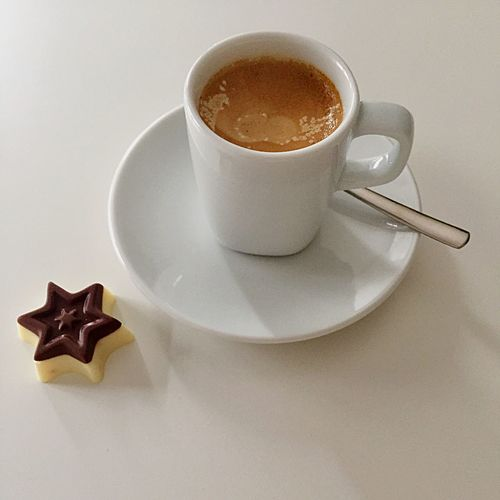 Wake Up Good Morning White Chocolate Candy Chocolate Pralines Espresso Coffee Cup Food And Drink Coffee - Drink Refreshment Still Life Saucer Drink High Angle View Table No People Indoors  Freshness Close-up Sweet Food White Background Food Day