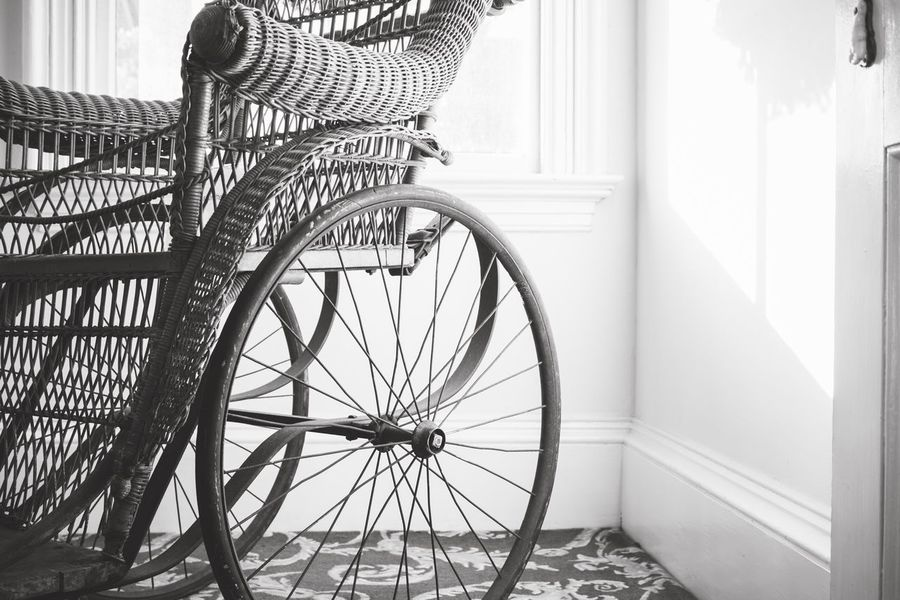 Black And White Blackandwhite Antique Wheelchair Old Antique Wheelchair Basket Day Transportation No People