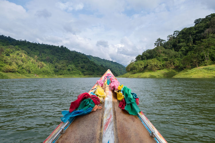Travel Thailand Nature Tranquility Travelling Beauty In Nature Boat Cloud - Sky Day For Island Lake Longtail Boat Mode Of Transport Mountain Nature Nautical Vessel Outdoor Outdoors Scenics Season  Sky Transportation Travel Thailand Travel Destinations Water
