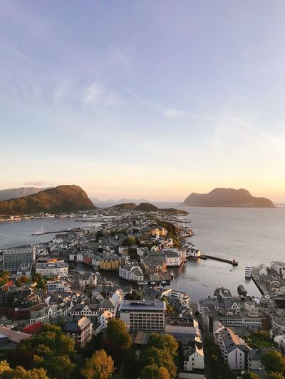 Ålesund, Norway Sky Water Sea City Architecture Building Exterior Nature Built Structure No People High Angle View Scenics - Nature Residential District Beauty In Nature Cloud - Sky Building Cityscape Land Beach Outdoors Bay