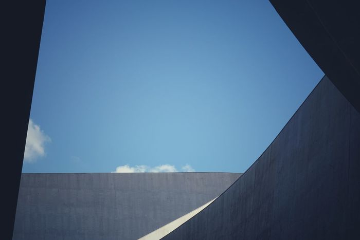 A piece of sky | Clear Sky Low Angle View Outdoors Architecture Still Life Personal Perspective Minimalist Architecture Architecture ZahaHadid MAXXI Roma EyeEm Italy |