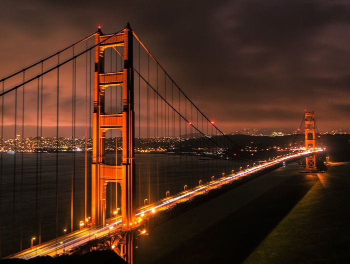 Connection Bridge - Man Made Structure Transportation Illuminated Suspension Bridge Built Structure Architecture City Engineering Travel Destinations Sunset Sky Night Outdoors Water No People Bridge Cityscape Chain Bridge