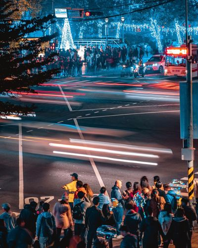 Speed Night Lights Night Crowd Large Group Of People City Street Transportation Group Of People Night Road Real People City Life Women City Street