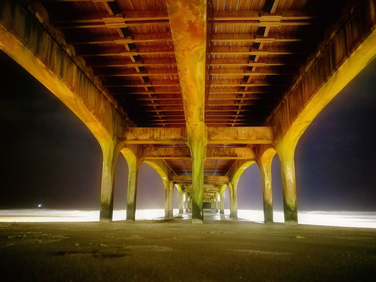 bridge - man made structure, architecture, underneath, below, night, connection, built structure, outdoors, no people, water, nature