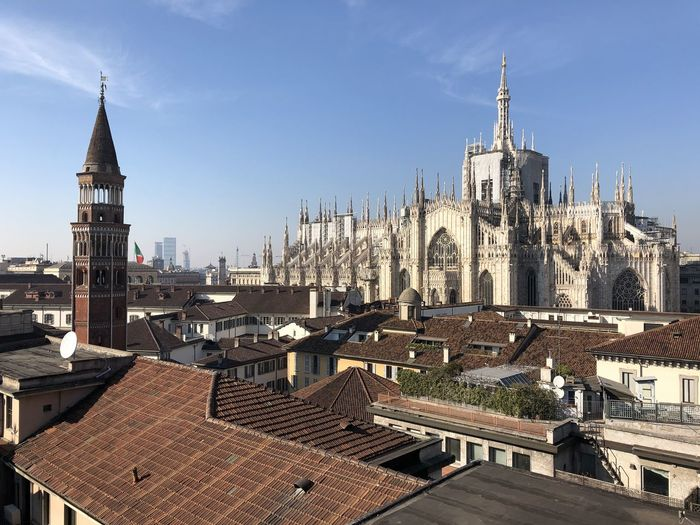 View of Palazzo Reale rooftops and Duomo di Milano Architecture City Sky Place Of Worship Travel Destinations Cityscape Outdoors Gothic Style Duomo Di Milano Rooftops Rooftop View  Palazzo Reale Tower