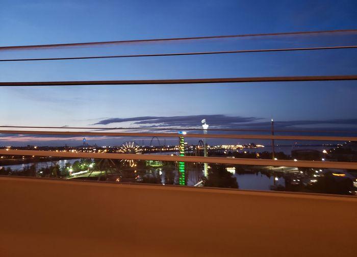 Amusement Park Illuminated City Cityscape Water Sky Landscape Cable-stayed Bridge