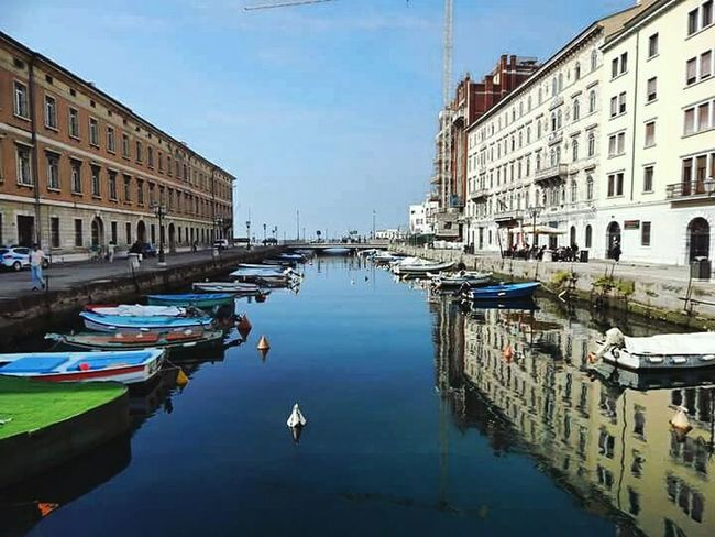Reflection Canal Water Nautical Vessel Sky City Gondola - Traditional Boat Architecture Outdoors No People Day Italija Italy🇮🇹 Italy Trieste, Italy Trieste Jadranskomore Trst Adriatic Sea City Ponterosso Ponterosso's Canal