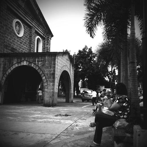 While waiting for the mass to start Catholic Church EyeemPhilippines Cainta Church Blackandwhite Monochrome Churchyard