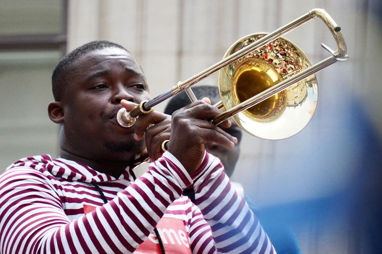 Arts Culture And Entertainment Close-up Fanfare Jazz Music Leisure Activity Lifestyles Music Musical Instrument Musician One Person Performance Playing Real People Skill  Wind Instrument
