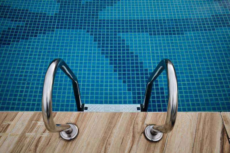Selective focus of swimming handrails at the hotel