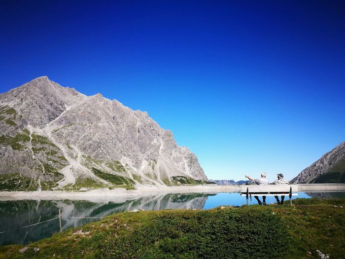 Lüner See Bergsteigen Bergsee Austria Brandnertal Österreich Sky Water Clear Sky Blue Copy Space Nature Real People Beauty In Nature Outdoors Mountain Two People Men Day EyeEmNewHere