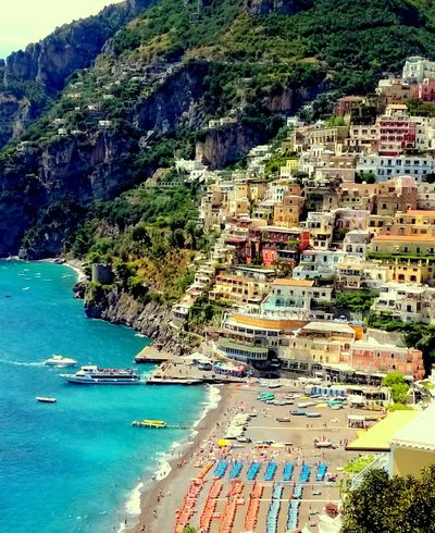 Aerial View Bank Building Exterior Campania Colours Holiday Italia Italien Italy Mare Ombrelloni Outdoors Perspective Positano Residential District River Rock Sea Spiaggia Summer Summertime Top Perspective Vacation Water Waterfront