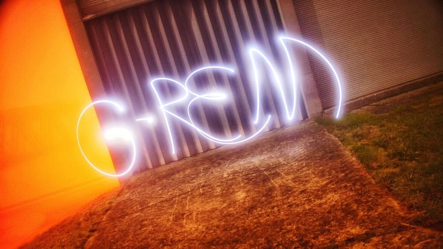 Mynameis Light Painting Long Exposure Illuminated Night Text Outdoors Neon Orange Color Belgium. Belgique. Belgie. Belgien. Etc. Nikonphotography Hainaut Beton Urban