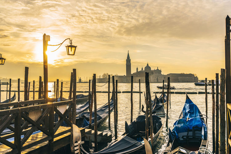 Piazza San Marco Architecture Beauty In Nature Building Exterior Built Structure City Cityscape Cloud - Sky Day Nature No People Orange Color Outdoors San Giorgio Maggiore San Marco Sea Sky Sunlight Sunset Travel Destinations Venice Water