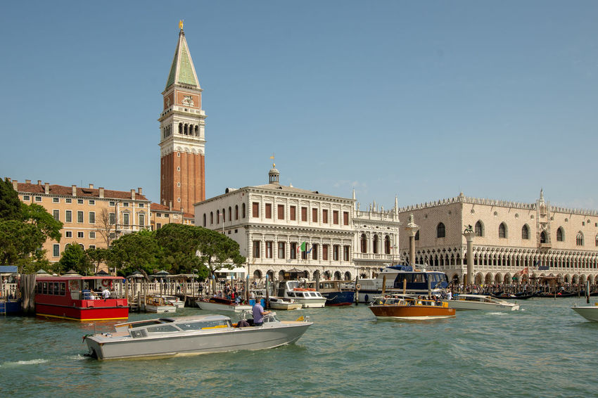 View at Piazza San Marco from Canal Grande Travel Architecture Building Built Structure Canal City Clear Sky Day Italy Mode Of Transportation Sky Tourism Tower Transportation Travel Travel Destinations Venice Water Waterfront