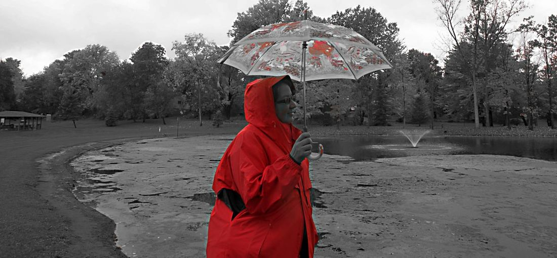 Raining day, another great day! Adult Day One Person One Woman Only Only Women Outdoors People Red Women