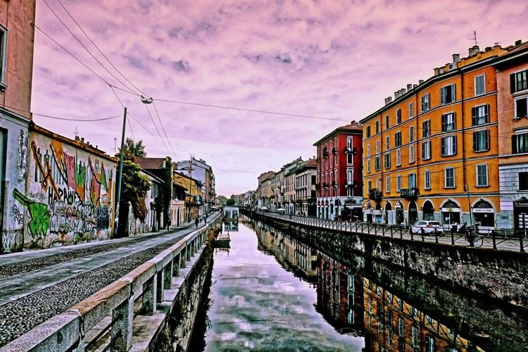 Naviglio at sunrise Milan,Italy Milano City Lombardy