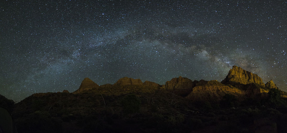 Milkyway Over the Watchman . Nightphotography Astrophotography Zion National Park Utah Panoramic Landscape_photography Outdoor Photography