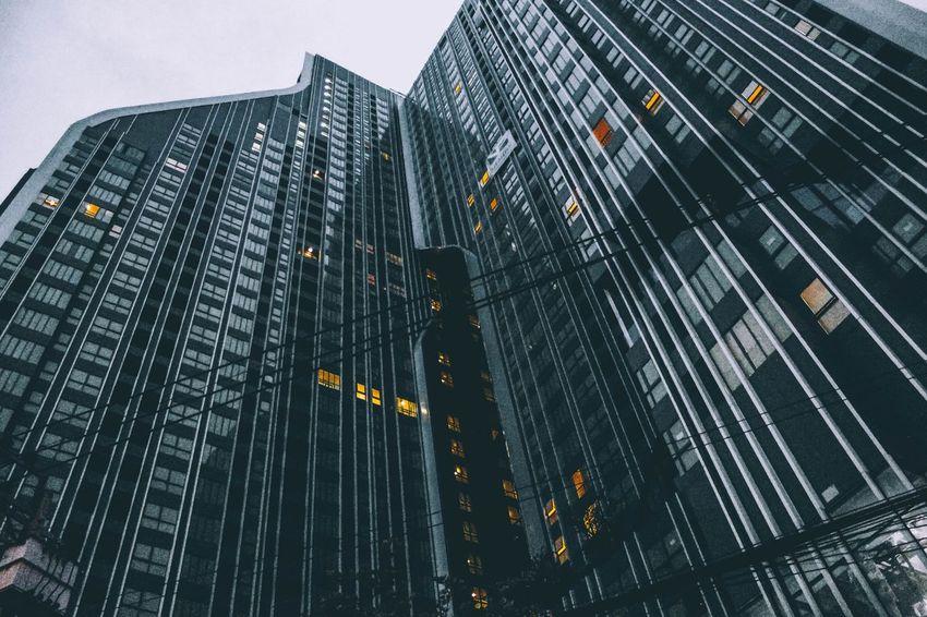 High rise building in Bangkok. Highrise Darktones Building Bangkok Thailand Desaturated Dramatic Angles