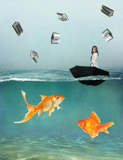 Digital composite image of girl standing on umbrella in sea with books falling against sky