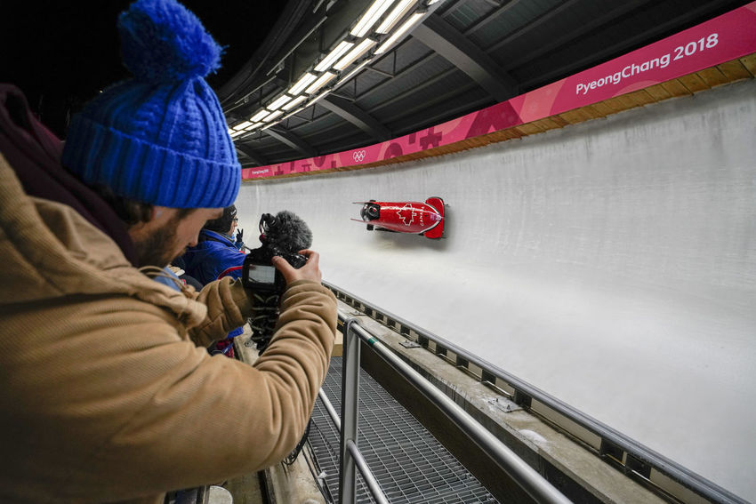2-man Bobsleigh Heat 1 at alpensia sliding centre in pyeongchang2018 winter olympic games 2-man Bobsleigh 2-man's Bobsleigh 2-men's Bobsleigh Bobsled Canadian Olympic Olympics Sled Sledge Sleigh Winter Winter Sport Alpensia Sliding Center Alpensia Sliding Centre Bobsleigh Canada Night Olympic Games Olympic Sliding Center Olympic Sliding Centre Olympicgames Pyeongchang Olympic Games Pyeongchang2018 Sport Winter Sports