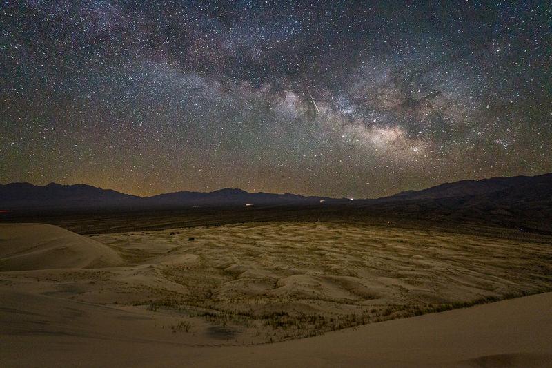 Scenic view of desert against sky at night