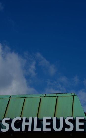 Schleuse (Detail) Blue Sky Cloud German Language Green Outside Roof Schleuse Silhouette