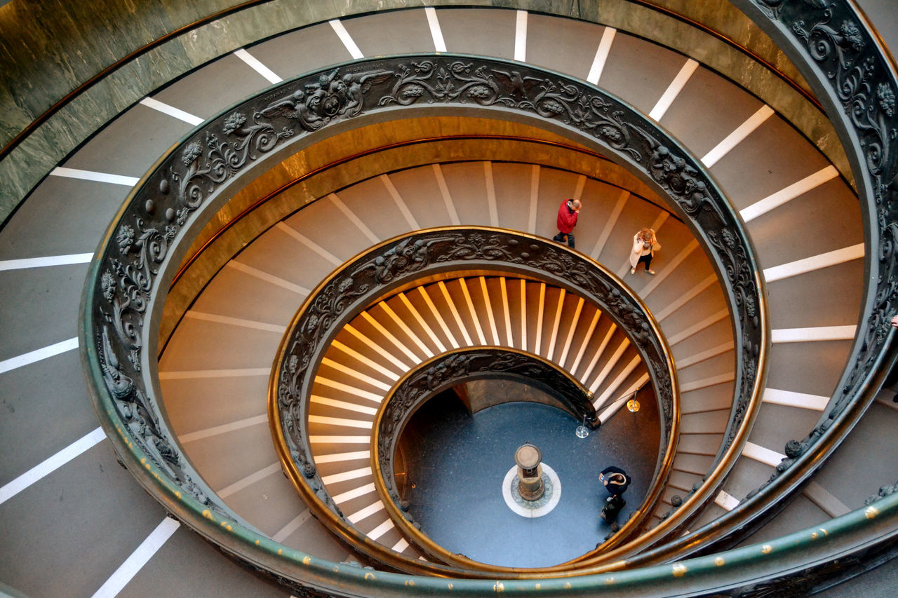 staircase, steps and staircases, steps, railing, spiral, spiral stairs, stairs, high angle view, architecture, built structure, design, indoors, hand rail, no people, spiral staircase, day
