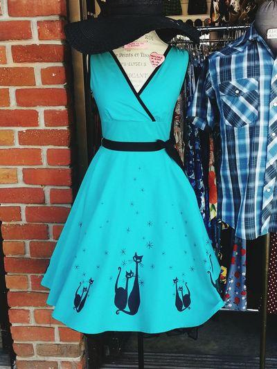 Bright Brick Wall Red Vibrant Color Blue Purity Modern Dresses Dress Retro Style Retro Retrostyle Feline Vintage Vintage Style Vintage Shopping Vintage Fashion