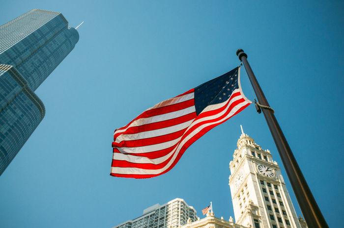 Blue Chicago Clear Sky Flag Flag Pole Low Angle View Modern National Flag Patriotism Pole Striped Urban