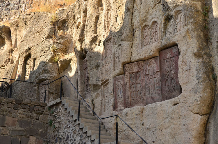 Armenia Geghard Geghard Monastery Spirituality Ancient Ancient Civilization Archaeology Architecture Building Exterior Built Structure Close-up Day History No People Old Ruin Oriental Orthodox Church Outdoors Religion Travel Destinations W-armenien