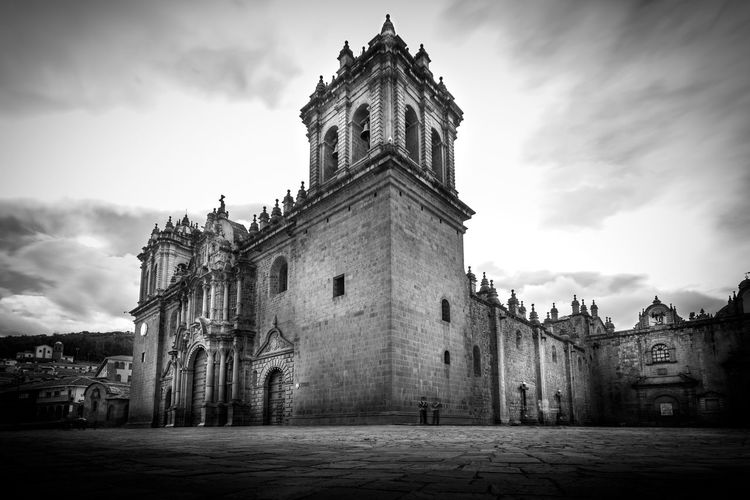 Catedral Church Cusco Huacaypata Inca Peru Architecture Black And White Building Exterior Catholic Church Colonial History Low Angle View Monochrome Plaza De Armas The Week On EyeEm