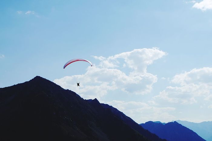 Yihaaa Adventure Mountain Mid-air Leisure Activity Sky Enjoyment Flying Freedom Paragliding Majestic Eye4photography  Mountains Sport Scenics Lifestyles Fun Tranquil Scene Outdoor Pursuit Nature Travel Destinations Tranquility Tourism Nature EyeEm Best Shots Silhouette