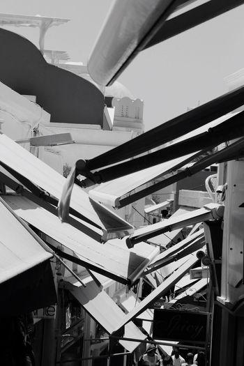 Sunshelter, street in Fira, Santorini, Architecture Blackandwhite struktur Black And White Friday
