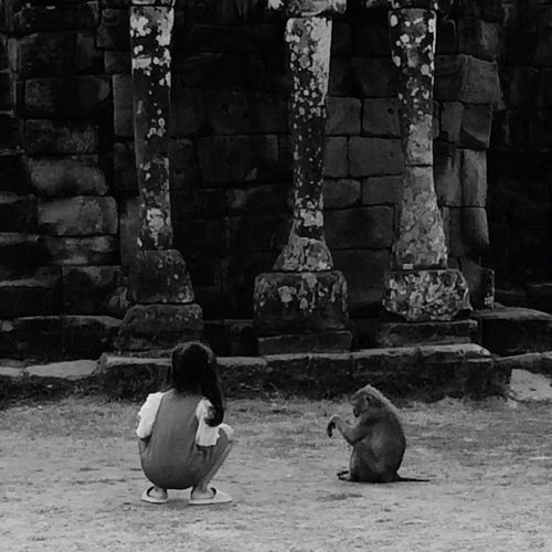Girl crouching by monkey at terrace of the elephants