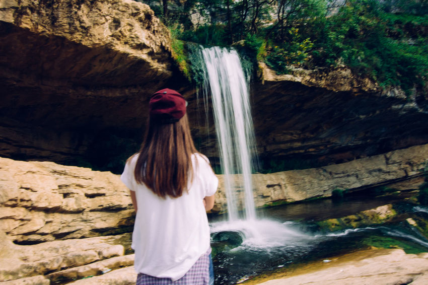 Beauty In Nature Flowing Water Long Exposure Long Hair Motion Rock Rock - Object Tourism Watching Water Waterfall