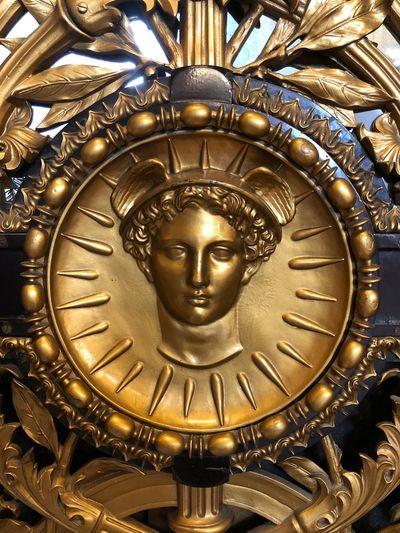 Door detail Metal Gold Colored Art And Craft Human Representation No People Representation Close-up