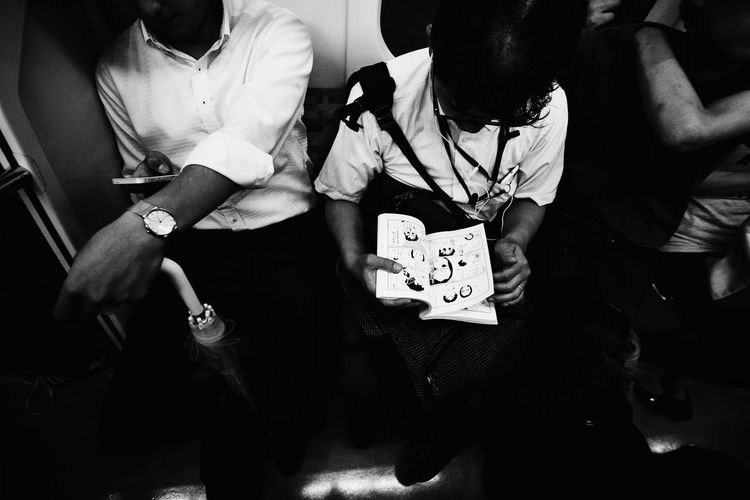 Blackandwhite Japan Japanese  Manga Reading Streetphotography Tokyo Train