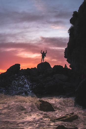 Own the Beach One Person Rock Formation Silhouette Leisure Activity Sunset Sky Water Adventure Lifestyles Scenics Beauty In Nature Nature Rock - Object Sea Outdoors Laguna California Mix Yourself A Good Time