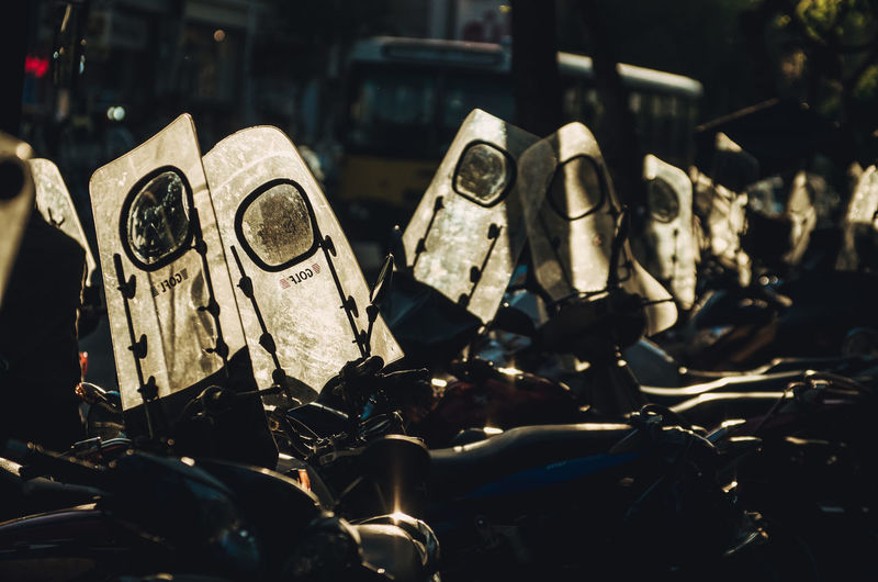 Motorcycles Parked On City Street
